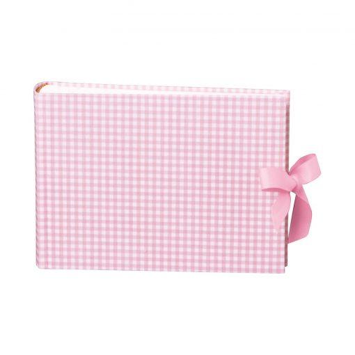 Album Small, 80p., cream white mountning board,glassine paper,book linen cover, Vichy pink   4250053620151   351001