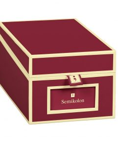 Business Card Box with 3 variable tabs and index cards A-Z, burgundy | 4250053636251 | 352640