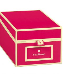 Business Card Box with 3 variable tabs and index cards A-Z, pink | 4250053636169 | 352641