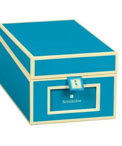 Business Card Box with 3 variable tabs and index cards A-Z, turquoise | 4250053696804 | 352651