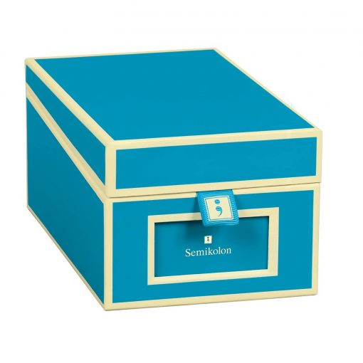 Business Card Box with 3 variable tabs and index cards A-Z, turquoise   4250053696804   352651