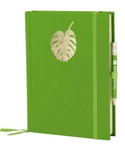 Grand Voyage Monstera gold embossing, plain, laid paper, 272 pages, lime   4004117546259   359068