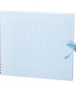 Maxi Mucho Album Cream, 90 cream white pages, book linen cover, Vichy blue | 4250540900803 | 353010