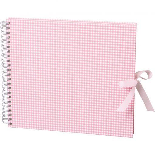 Maxi Mucho Album Cream, 90 cream white pages, book linen cover, Vichy pink | 4250540900797 | 353009