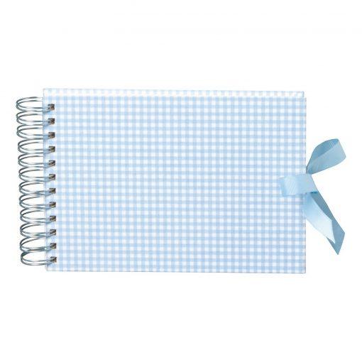 Mini Mucho Album Cream, 90 cream white pages, book linen cover, Vichy blue | 4250540900971 | 353028