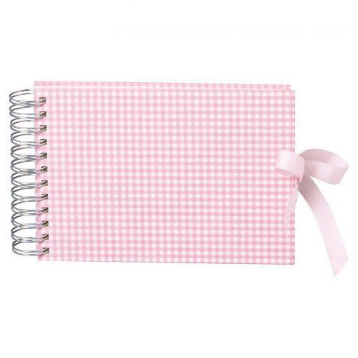 Mini Mucho Album Cream, 90 cream white pages, book linen cover, Vichy pink | 4250540900964 | 353027