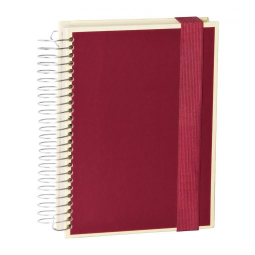 Mucho (A5) spiral-bound notebook, 330 pages, 3 different rulings, burgundy | 4250053637012 | 351555