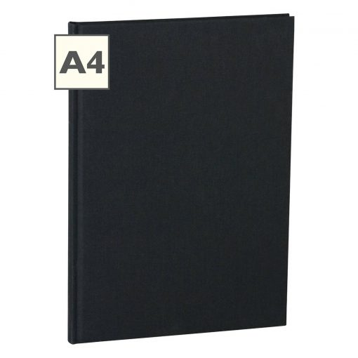 Notebook Classic (A4) book linen cover, 160 pages, plain, black | 4250053604991 | 351236