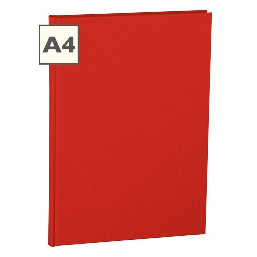 Notebook Classic (A4) book linen cover, 160 pages, plain, red | 4250053604960 | 351233