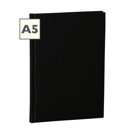 Notebook Classic (A5) book linen cover, 160 pages, plain, black | 4250053604359 | 351219