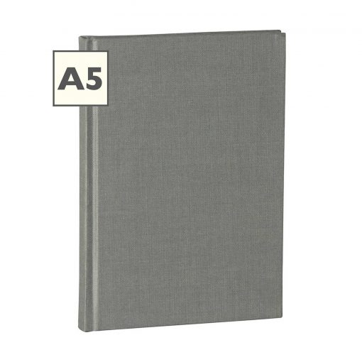 Notebook Classic (A5) book linen cover, 160 pages, plain, grey | 4250053616215 | 351225
