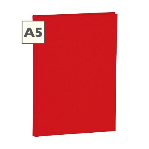Notebook Classic (A5) book linen cover, 160 pages, plain, red | 4250053604328 | 351216