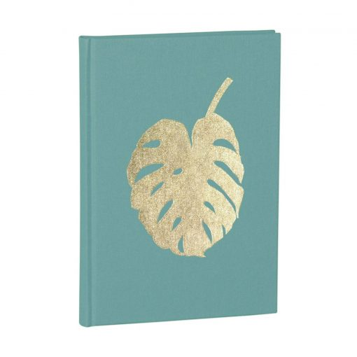 Notebook Classic A5 Monstera gold embossing, plain, linen, 144 pages, acquaverde | 4004117546341 | 359075