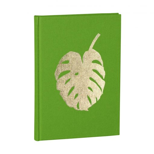Notebook Classic A5 Monstera gold embossing, plain, linen, 144 pages, lime | 4004117546334 | 359074