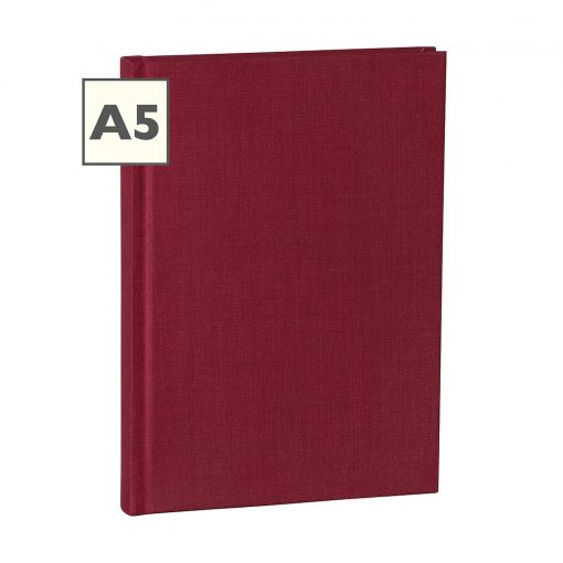 Notebook Classic (A5) ruled, book linen cover, 160 pages, burgundy | 4250053600672 | 350906