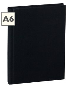 Notebook Classic (A6) book linen cover, 160 pages, plain, black | 4250053603987 | 351203