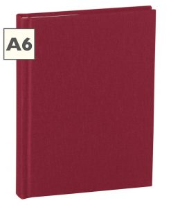 Notebook Classic (A6) book linen cover, 160 pages, plain, burgundy | 4250053603963 | 351201