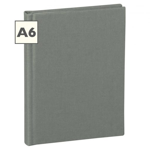 Notebook Classic (A6) book linen cover, 160 pages, plain, grey | 4250053616697 | 351209