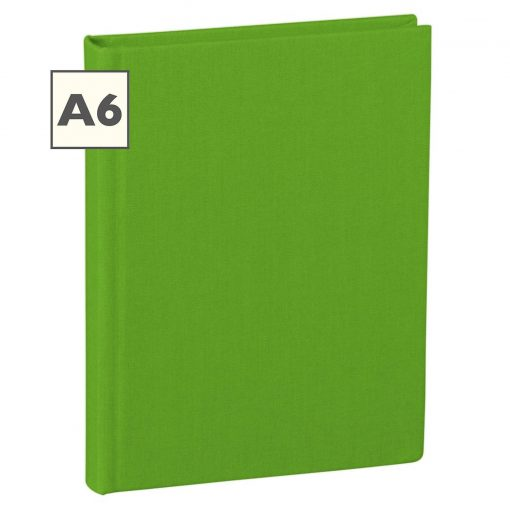 Notebook Classic (A6) book linen cover, 160 pages, plain, lime | 4250053604038 | 351207