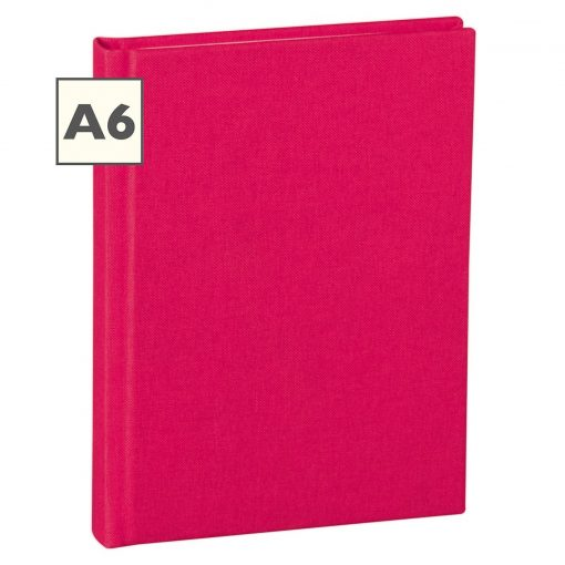 Notebook Classic (A6) book linen cover, 160 pages, plain, pink | 4250053603970 | 351202