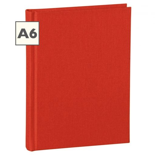 Notebook Classic (A6) book linen cover, 160 pages, plain, red | 4250053603956 | 351200
