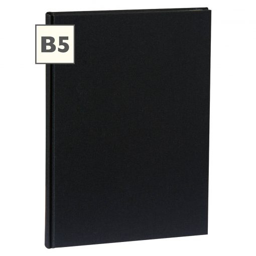 Notebook Classic (B5) book linen cover, 160 pages, plain, black | 4250540921358 | 351284