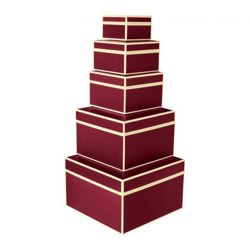 Set of 5 Gift Boxes, burgundy   4250053641712   352068