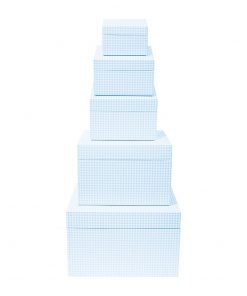 Set of 5 Gift Boxes, Vichy blue   4250053692691   352199