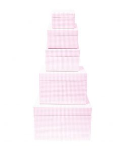 Set of 5 Gift Boxes, Vichy pink   4250053692684   352193