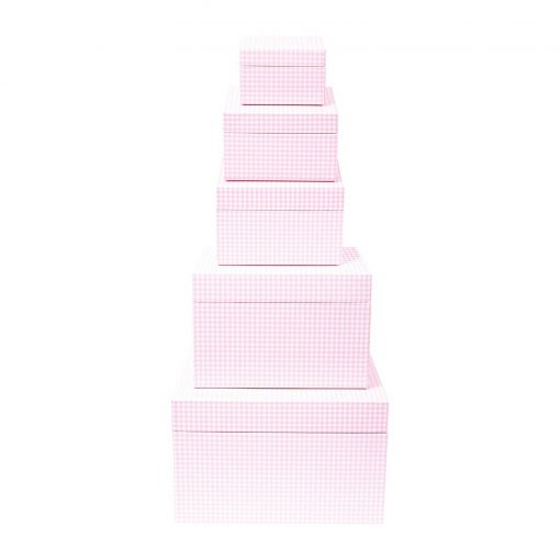 Set of 5 Gift Boxes, Vichy pink | 4250053692684 | 352193