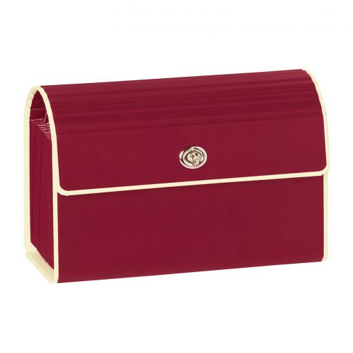 Small Accordion File, 12 expanding pockets, metal turn-lock closure, tab labels, burgundy | 4250053618745 | 351965