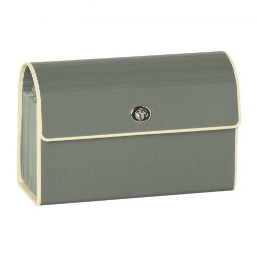 Small Accordion File, 12 expanding pockets, metal turn-lock closure, tab labels, grey   4250053618820   351972