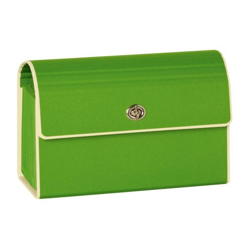 Small Accordion File, 12 expanding pockets, metal turn-lock closure, tab labels, lime | 4250053618806 | 351971