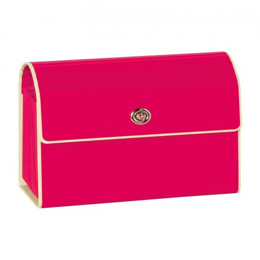 Small Accordion File, 12 expanding pockets, metal turn-lock closure, tab labels, pink | 4250053618752 | 351966