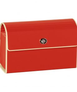 Small Accordion File, 12 expanding pockets, metal turn-lock closure, tab labels, red | 4250053618738 | 351964